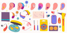 Big Set Of Special Devices For People With Hearing Impairments. Hearing Aids, Batteries, Earmolds And Etc.
