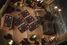Tarot Cards And Esoteric Concept. Magic Rituals. Mystical Table With Details,