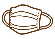 Face Mask - Brown Line Clip Art