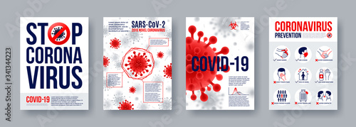 Coronavirus poster set with infographics elements. Novel coronavirus 2019-nCoV banners. Concept of dangerous Covid-19 pandemic. Vector illustration. - fototapety na wymiar