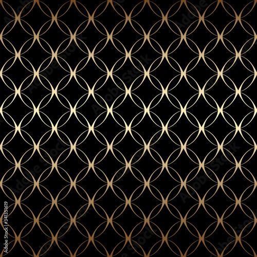 Gold art deco simple linear seamless pattern with circles, black and gold colors Canvas Print