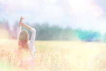 Happy Girl In Autumn Field With Spikelets Landscape / Adult Young Girl Portrait, Summer Look, Nature
