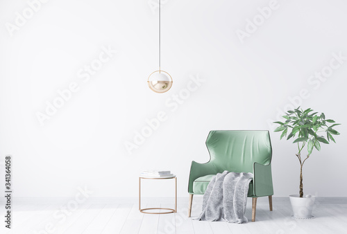 interior house with simple white background mock up. green velvet armchair with grey plaid on . modern space concept. 3d render. Illustration