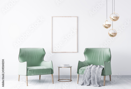 Photo interior house with simple white background mock up