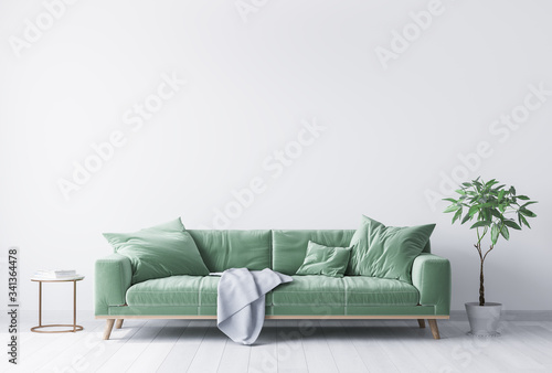 Fototapeta interior house with simple white background mock up. green velvet sofa with grey plaid on . modern space concept. 3d render. Illustration obraz