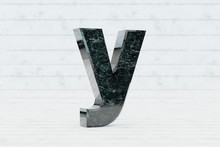 Marble 3d Letter Y Lowercase. Dark Green Marble Letter On White Wood Background. 3d Render.