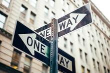 USA, New York City, Sign Post ...