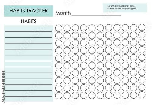 Carta da parati Monthly planner habit tracker blank template