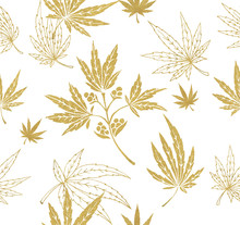 Pattern With Golden Plants And...