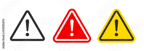 Canvas Print Caution warning signs set. Exclamation marks
