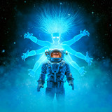 Call of the space siren / 3D illustration of science fiction scene with astronaut encountering luminescent multi armed female alien being