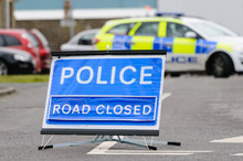 Police Road Closed Sign With P...
