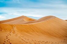 Many Footprints On Sand Dunes Of Sahara Desert, Morocco.