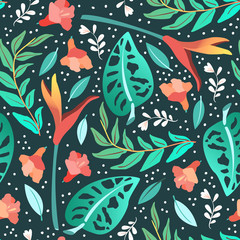 Fototapeta Egzotyczne Tropical leaves seamless pattern. Summer vector background