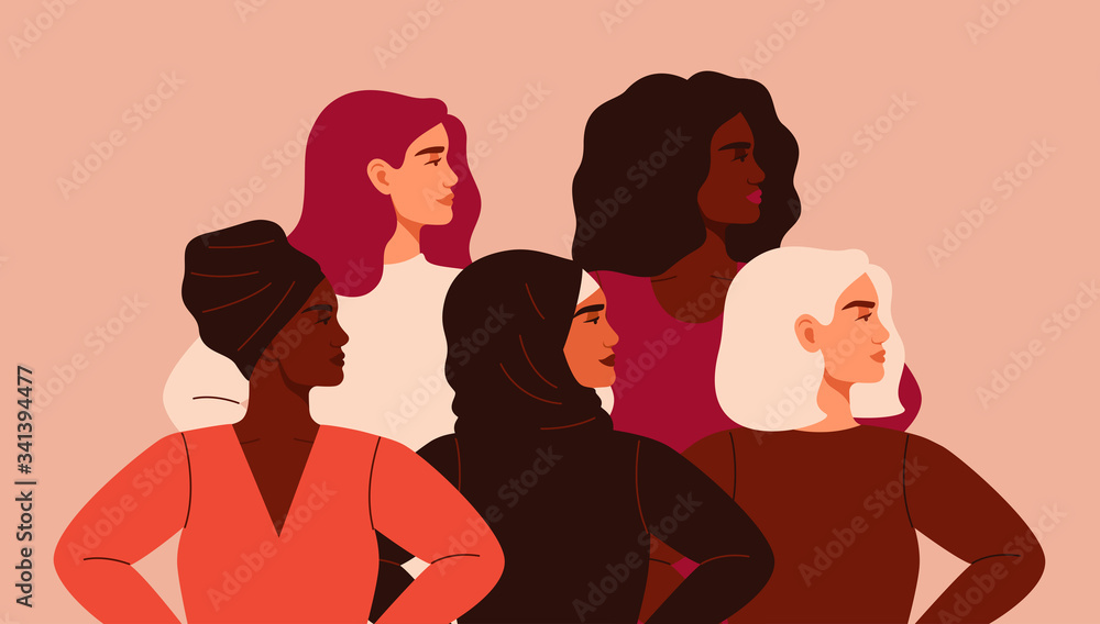 Fototapeta Five women of different nationalities and cultures standing together. Friendship poster, the union of feminists or sisterhood. The concept of gender equality and of the female empowerment movement.