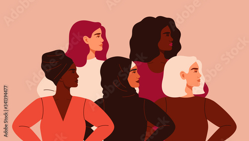 Fototapeta Five women of different nationalities and cultures standing together. Friendship poster, the union of feminists or sisterhood. The concept of gender equality and of the female empowerment movement. obraz