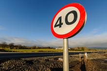 40mph Speed Limit Sign At A Ne...