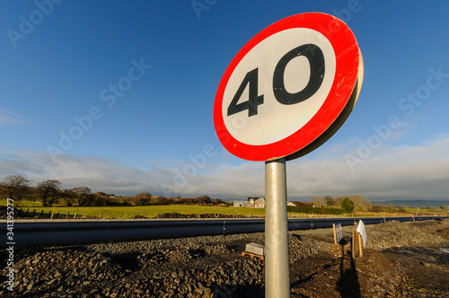Fotomural 40mph speed limit sign at a newly constructed road