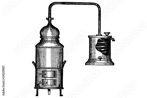 Photo BAIN MARIE COPPER ALEMBIC – Vintage Engraved Illustration 1897