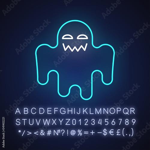Horror movie neon light icon Canvas Print