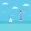 Lighthouse and sailboat on seascape. Seaside with blue water, clouds, ship, lighthouse building.