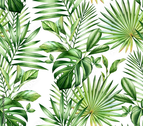 Watercolor tropical seamless pattern Canvas