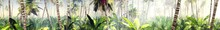 Panorama Of The Jungle In The Morning In The Rays Of The Rising Sun, Palm Trees In The Fog In The Morning, 3D Rendering