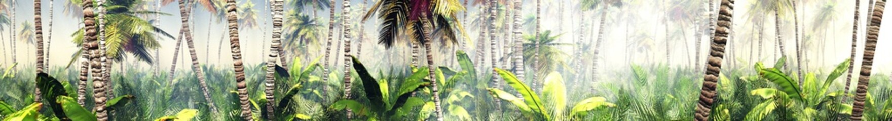 Fototapeta Las Panorama of the jungle in the morning in the rays of the rising sun, palm trees in the fog in the morning, 3D rendering