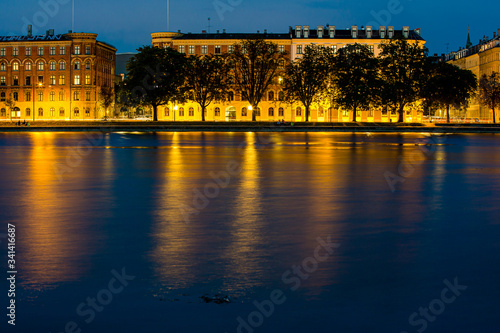 Twilight view of old historical buildings in Copenhagen over the water Canvas Print
