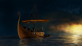 Viking ship under the gold shine.