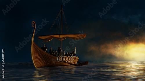 Photo Viking ship under the gold shine.