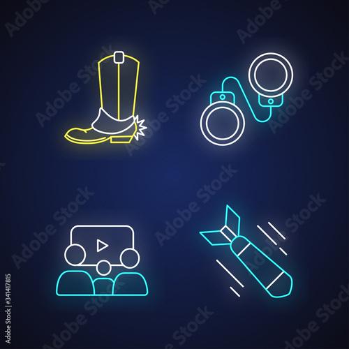 Photo Different film genres neon light icons set