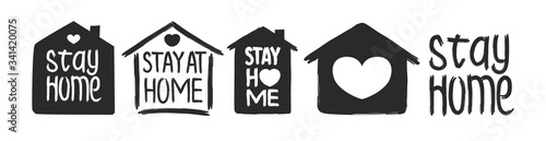 Fotografia Stay home - hand drawn vector quote set isolated on white background with house and heart for self isolation, quarantine