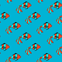 Seamless Pattern With Fishe, Blue Background. Simple Flat Style Vector Illustration.