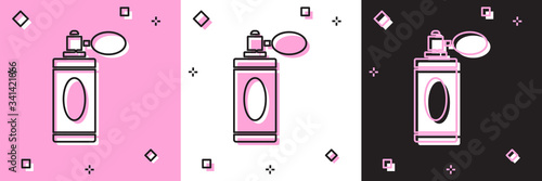 Set Aftershave bottle with atomizer icon isolated on pink and white, black background Canvas Print