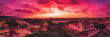 canvas print picture - City scape of Puerto Vallarta in a red sunset