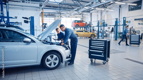 Fotografie, Obraz Two Mechanics in a Service are Inspecting a Car After They Got the Diagnostics Results