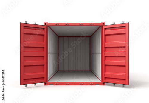 3d rendering of open empty red barge container with white insides isolated on white background Obraz na płótnie