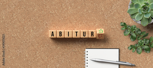 cubes with the German name ABITUR as university-entry qualification and thumbs-u Canvas Print
