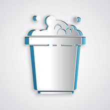Paper Cut Bucket With Soap Suds Icon Isolated On Grey Background. Bowl With Water. Washing Clothes, Cleaning Equipment. Paper Art Style. Vector Illustration