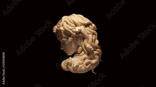 Photo Medusa White Cream Bone Color 3d illustration 3d render