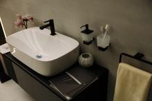 Modern Square Sink In The Bathroom. Stylish Vessel Sink Under Mirror In Bathroom. Interior Element