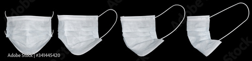Photo Medical mask or surgical earloop mask isolated on black background with clipping path