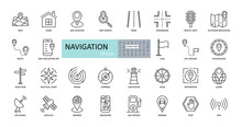 Vector Navigation Icons. Editable Stroke. Images Of Land, Air, Sea Navigation. Road, Route, Map, Stop Sign, Satellite, Globe, Radar, GPS, Compass, Application.