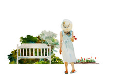 Young Girl With Tulips Back To Watcher Going To The Garden Bench. Original Watercolor Spring Gardening Illustration