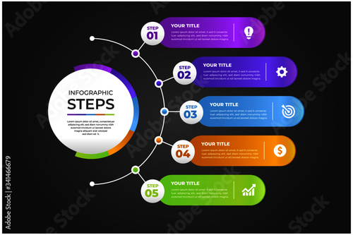 Fototapeta modern Infographic element collection & tools business infographic template, can be used for presentation, web or workflow diagram layout obraz na płótnie