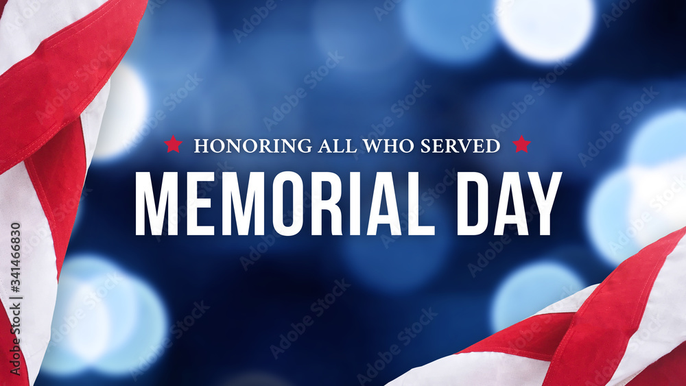 Fototapeta Memorial Day - Honoring All Who Served Text Over Blue Lights Background and American Flags
