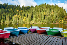 Multi-colored Boats At The Pie...