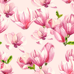 Watercolor hand painted magnolia blossom flowers illustration seamless pattern - wrapping paper, fabrics design, wallpaper