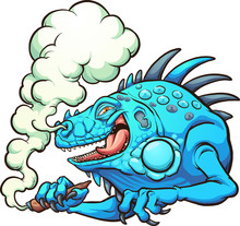 Blue Iguana Smoking A Marijuana Cigarette. Vector Clip Art Illustration With Simple Gradients. All In A Single Layer.